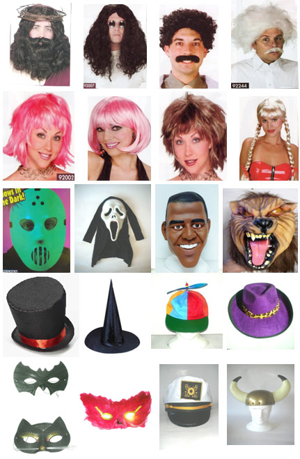 masks, wigs and hats